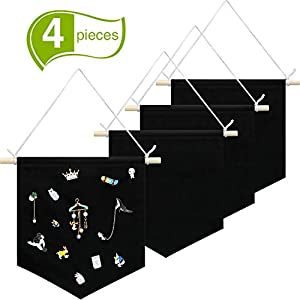 4 Pieces Wall Display Banners Blank Wall Canvas Banner Enamel Pin Banners for Display, Buttons and Label Collections (Black)