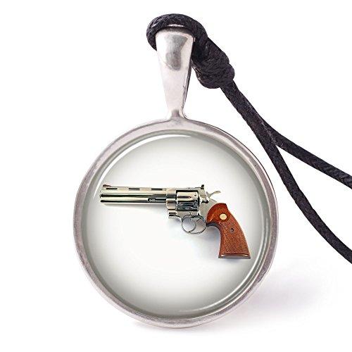 Vietguild's Revolver 357 Magnum Necklace Pendants Pewter Silver