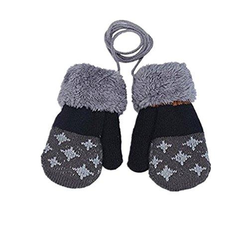 Auxma Por 0-4 años de edad,Guantes calientes de los niños muchachas de los bebés del niño de guantes de punto Guantes Leaf Gris oscuro