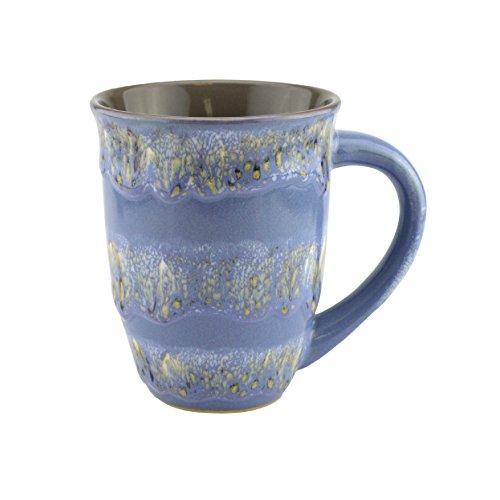 Mug Creative Glazed Ceramic Coffee and Tea Cup with Handle - Gorgeous Artistic Unique Design Coffee Mugs 16 oz (Blue)