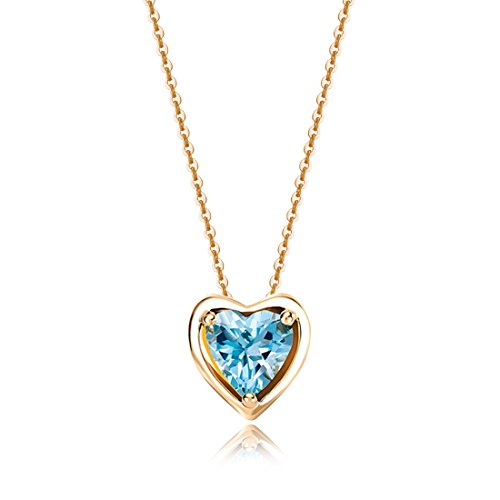 Carleen Solid 14K Yellow Gold Birthday Heart Shape Gemstone November Solitaire Blue Topaz Birthstone Necklace Pendant Delicate Dainty Fine Jewelry for Women Girl, 18 inch (Topaz)