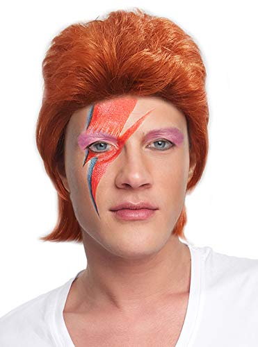 Costume Adventure British Popstar Bowie Style Wig for Adults Red ()