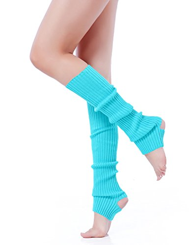 Leg Warmers 80s (V28 Women Girls Neon Pink Stirrup Ribbed for 80s Party Yoga Leg Warmers (Hole Lakeblue))