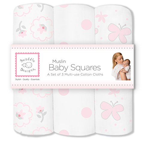 SwaddleDesigns Cotton Muslin Squares Butterfly