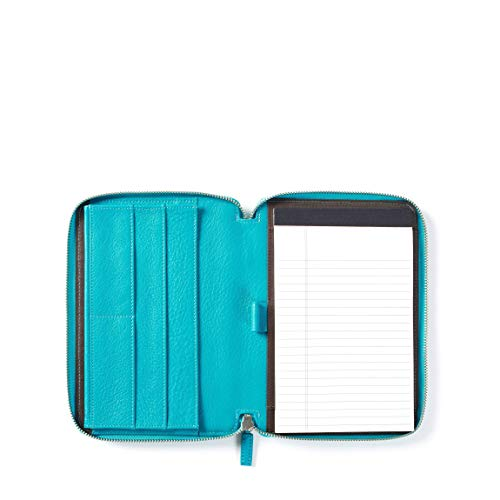 Leatherology Junior Zippered Portfolio with Pen Loop - Full Grain Leather - Teal (Blue)