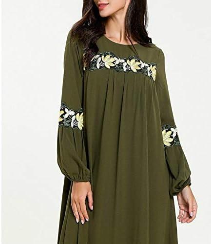 Vestiti dalle Donne Gonna a Pieghe Ricamate Cuciture Manica Lunga Moda 2 Pezzi, Taglia: L (Verde Militare) (Colore : ArmyGreen) ArmyGreen
