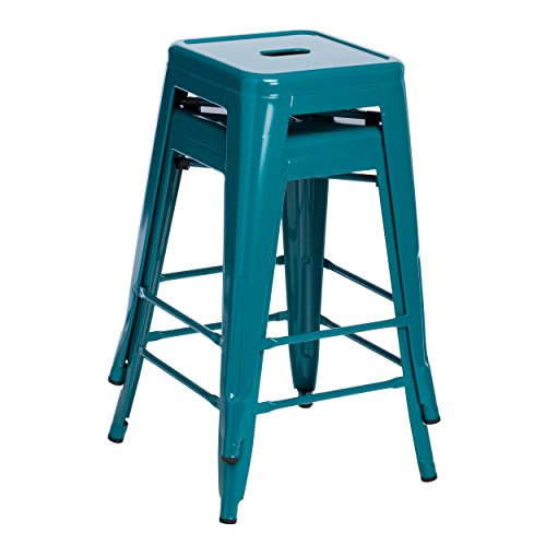 Set of 2 Turquoise French Bistro Tolix Style Metal Counter Stools in Glossy Powder Coated Finish Includes ModHaus Living (TM) Pen
