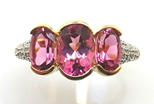 14k Gold Ring w/Three Oval Genuine Natural Pink Tourmalines and Diamonds #J3807