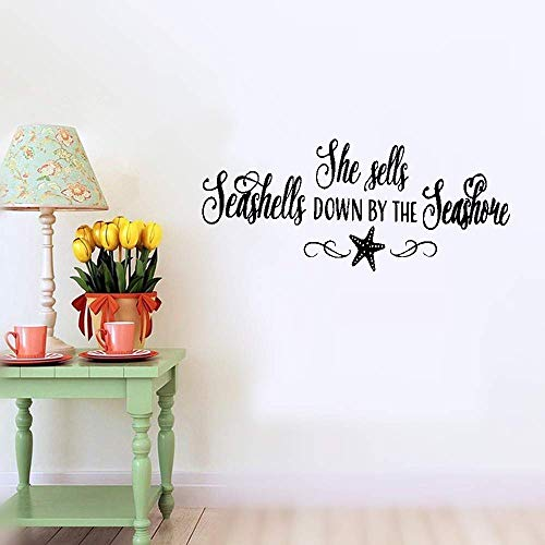 (Tiuep Mural Saying Wall Decal Sticker Art Mural Home Decor Quote She Sells Seashells Down by The Seashore)