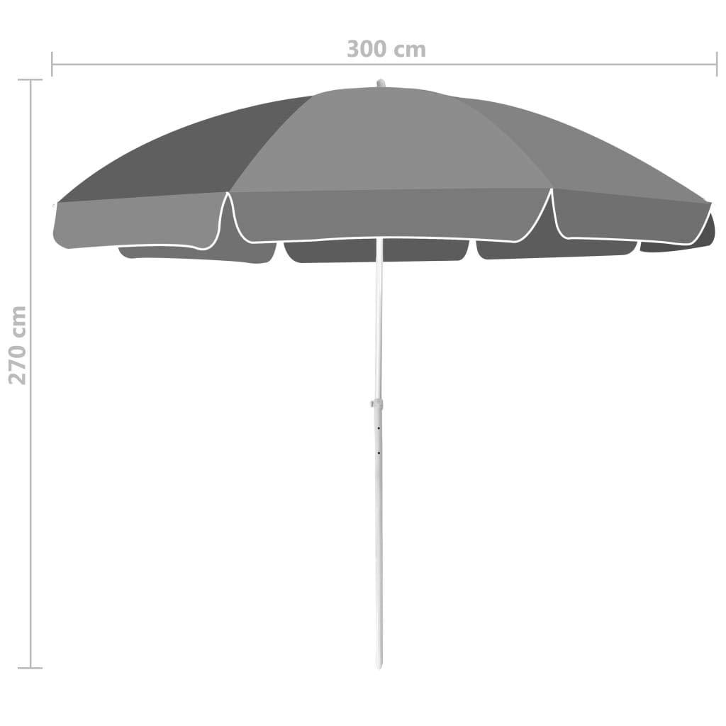 Ombrellone da Spiaggia 300 cm Antracite Ombrelloni da Giardino Tidyard
