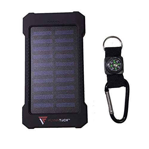Flynn Tech Solar Powerbank - Charging Device – Portable 10,000mah Charger - Best Waterproof Solar Charger for Phones, USB Devices, Tablets & MP3 Players - for Indoor & Outdoor Use