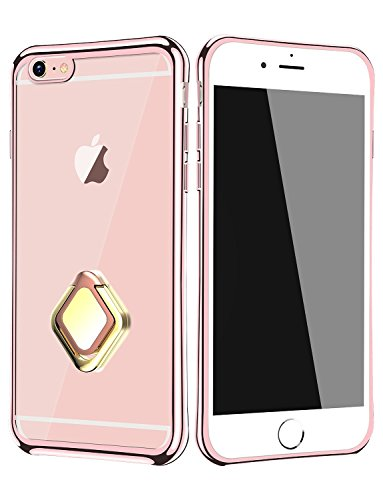Shaped Sucker Rings (iPhone 6s Case, Phone Case iPhone 6 Cases, Magnetic Function Diamond Shaped Ring Holder Kickstand Bumper Anti-Scratch Clear Back Protective Cover Case for iPhone 6/6s 4.7 inch - Red)