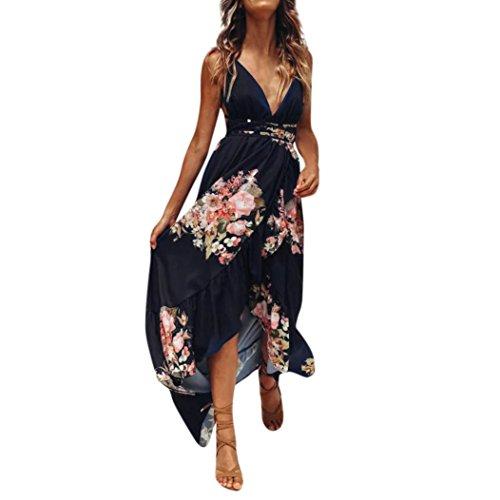 SHOBDW Vestido Largo Maxi Floral Boho de Las Mujeres de la Manera Impresión Fiesta de Noche sin Mangas de la Gasa Playa del Verano Azul Oscuro