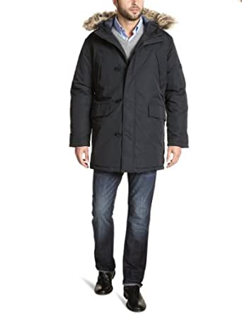 Ben Sherman Men's Heavy Weight Textured Nylon City Parka, Black, 3X-Large