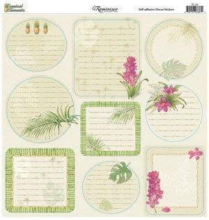 Tropical Elements Tags Cardstock Scrapbook Stickers (TE102)