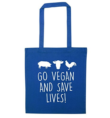 save vegan and Go tote Blue bag Go vegan lives 6qIZPq