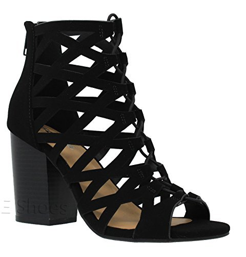 Black Wedge Heel - MVE Shoes Women's Open Toe Strappy Back Zipper Chunky Heel, Black nb Size 8