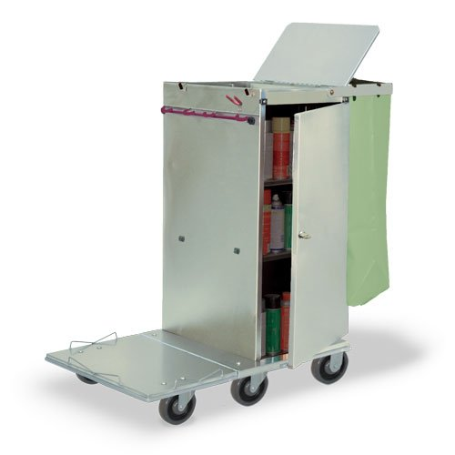 Janitor Microfiber Cart (Royce Rolls Stainless Steel Standard Folding Janitor Housekeeping Cleaning Cart - #F36)
