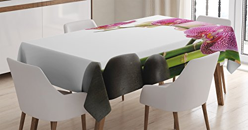 Ambesonne Meditation Tablecloth, Spa Stones with Orchid and Bamboo Stems Yoga Chakra Zen Spiritual Image, Dining Room Kitchen Rectangular Table Cover, 60 W X 90 L inches, Fuchsia Green Grey by Ambesonne