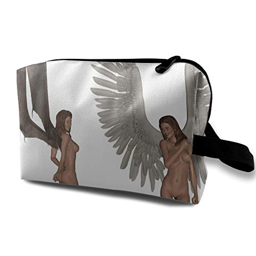 Cool Halloween Fantasy Naked Angel And Devil Multi-function Travel Makeup Toiletry Coin Bag Case