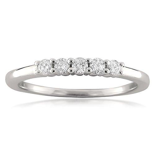 - 18k White Gold 5-Stone Round Diamond Bridal Wedding Band Ring (1/4 cttw, I-J, SI1-SI2), Size 7