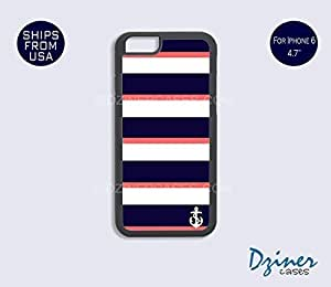 Case Cover For SamSung Galaxy S6 model - Anchor Blue Coral Stripes