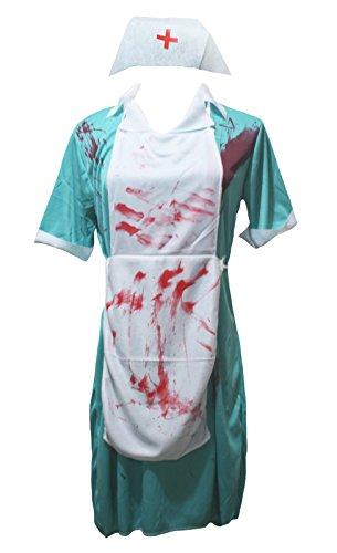 Petitebella Halloween Costume Bloody Surgeon Nurse Party Dress Up for Women (Blue) -