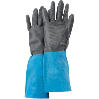 SHOWA Best Size 9 Large Black Chem Master 13'' Flock Lined 26 mil Unsupported Neoprene Rubber Latex Chemical Resistant Gloves With Tractor Tread Finish And Straight Cuff