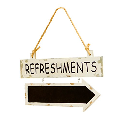REFRESHMENTS - Wooden Sign with Attached Chalkboard Arrow by VIP Home & Garden