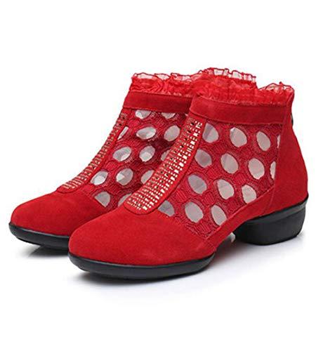Professionnelles pour Dames De Chaussures Léger Danse Red Salon Bout Chaussures Danse De Évider Talon Bloc De Respirant Pratique De Rond Bloc Fermé HARUxcqw