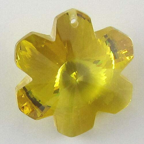 buyallstore 20mm Faceted CZ Cubic Zirconia Flower Pendant Citrine (Faceted Flower Citrine)