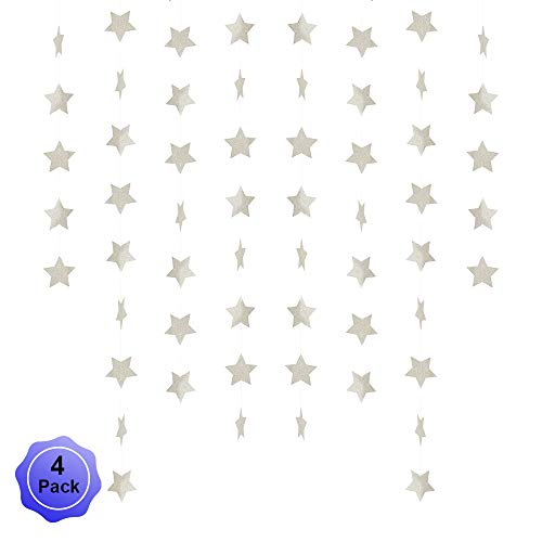 Star Banner Garland Decorations Stars Paper Birthday Party Banner Twinkle Hanging Bunting Banner Gold Glitter Sparkling Star Garland for Wedding Christmas Halloween Photo Booth Props Silver 4 Pack -