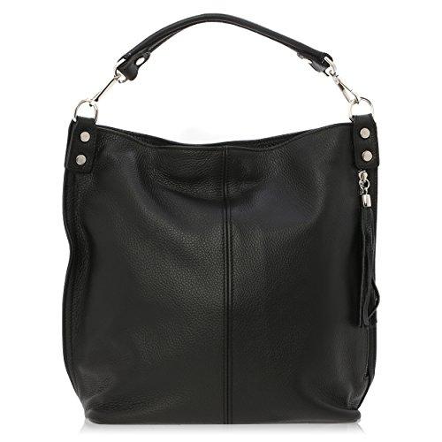 Bolso de Hombro para Mujer Made in Florence Piel Genuina 33*29*14 cm Negro