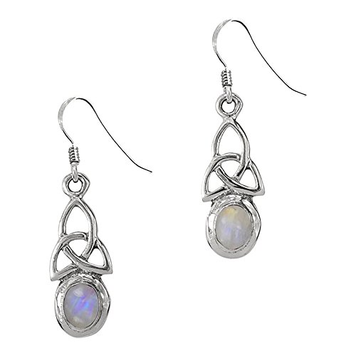 Birthstone Trinity Knot - Sterling Silver Celtic Trinity Knot Birthstone Earrings (June - Moonstone)