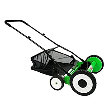 Alek... 20-Inch Manual Reel Mower with Grass Catcher Bag Lawn mower Home Garden