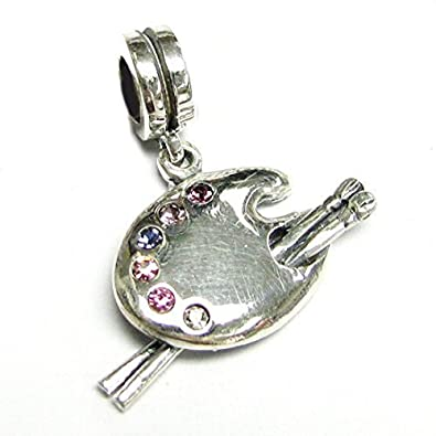 Queenberry Sterling Silver Cubic Zirconia Crystal Art Palette with Brush Dangle European Bead Charm