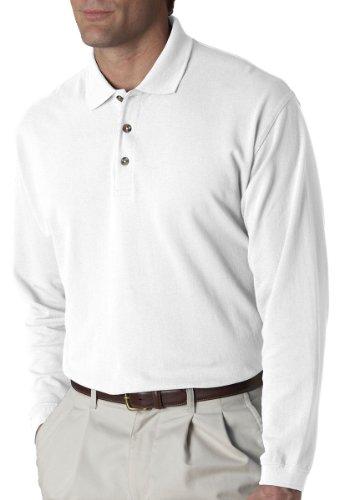 UltraClub Mens Long-Sleeve Classic Pique Polo (8532) -WHITE -L