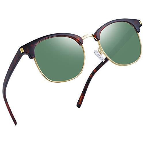(Joopin Semi Rimless Polarized Sunglasses Women Men Retro Brand Sun Glasses (Retro Leopard/Olive))