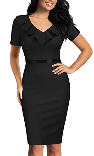 REPHYLLIS Women's Ruffles Short Sleeve Business Cocktail Pencil Dress M Black by REPHYLLIS