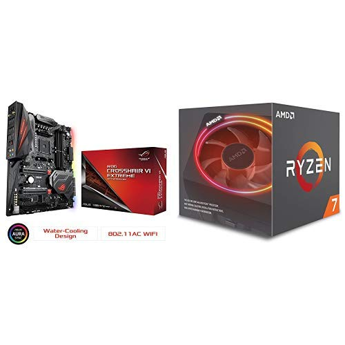 (ASUS ROG Crosshair VI Extreme AMD Ryzen AM4 DDR4 M.2 USB 3.1 EATX X370 Motherboard with onboard and AURA Sync RGB Lighting and Ryzen 7 2700X Processor with Wraith Prism)