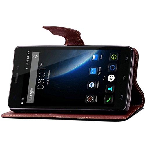 Trumpshop Smartphone Carcasa Funda Protección para Doogee X5 Pro + Marrón + PU Cuero Caja Protector Billetera con Cierre magnético la Ranura la Tarjeta Choque Absorción Negro