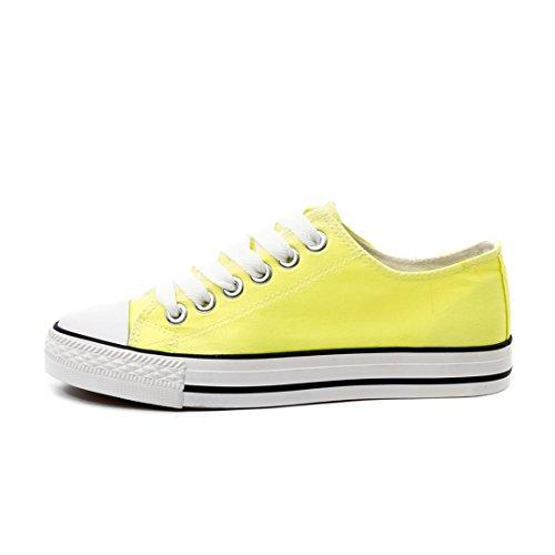 Unisex Kinder Damen Canvas Gelb Low Herren Textil Schuhe Neon Sneaker Top Schnür Trendige ZpqxfdUgnq