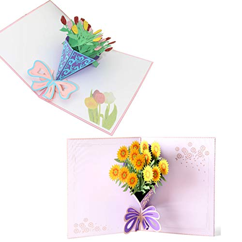 3D Flower Pop Up Cards Wedding Valentine Cards and Thanksgiving Greeting Cards 5.9x7.9 inches 2 Pieces Include Envelopes (Tulip and Sunflower Bouquets)