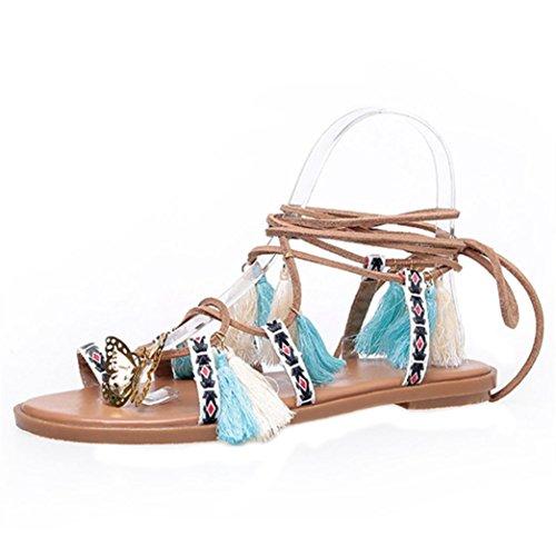 Transer® Damen Flach Sommer Stiefel Mehrfarbig Leder+Gummi Kreuzgürtel mit  Quast Outdoor Sandalen 271b660920