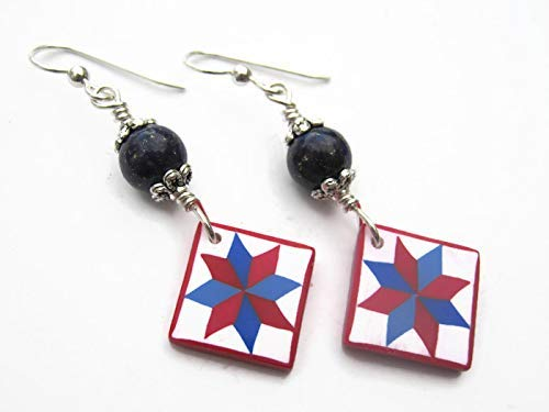 Valor Quilt Block Earrings, Sterling Silver, Lapis Lazuli Quilters Jewelry, Limited Edition Polymer Clay LeMoyne Star