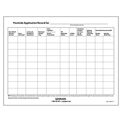 "GEMPLER'S T8919-17 Worker Protection Standard WPS Pesticide Application Posting Sheets for 2017 Pesticide Recordkeeping Requirements, 8-1/2"" x 11, 3-Hole Punched, pack of 50"