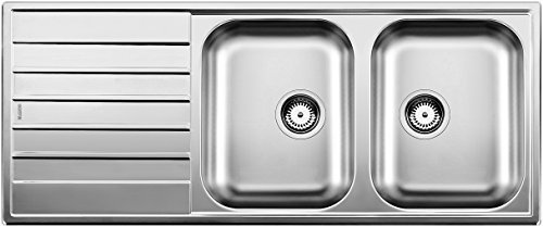 Blanco Livit 8S 514798 Sink with 2 Basins and 1 Draining Board Brushed Stainless Steel by Blanco by Blanco