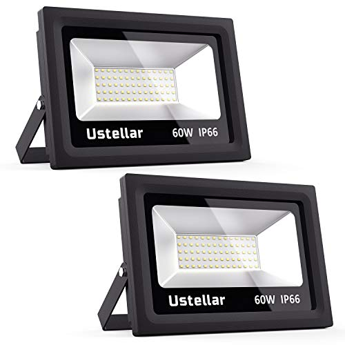 Cheap Ustellar 2 Pack 60W LED Flood Light, IP66 Waterproof, 4800lm, 300W Halogen Bulb Equivalent Outdoor Super Bright Security Lights, 5000K Daylight White, Floodlight Landscape Wall Lights