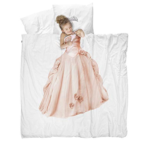 Snurk Duvet Cover Set Duvet Cover with Pillowcase - 100% Cotton Duvet Cover and Pillow Case Set for Kids - Soft Cover Bedding for Your Little One - Life-Size Princess for Queen/Full Beds and Pillows -