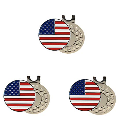 FINGER TEN Golf Ball Markers 3 Pcs with 3 Pack Hat Clip Value Gift Set, Mark Pattern USA, Eagle, Ribbon in Choice for Men Women Kid (All USA Flag)